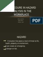 Procedure in Hazard Analysis in the Workplace