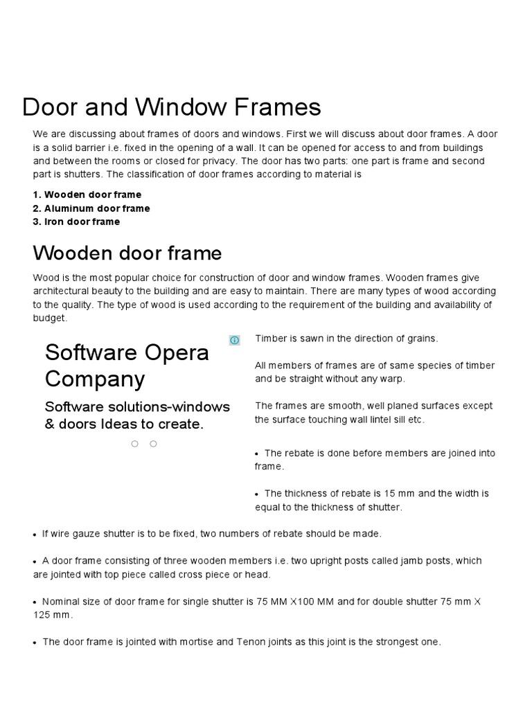 Door and Window Frames _ Fixing Window and Door Frames _ Wooden Door ...