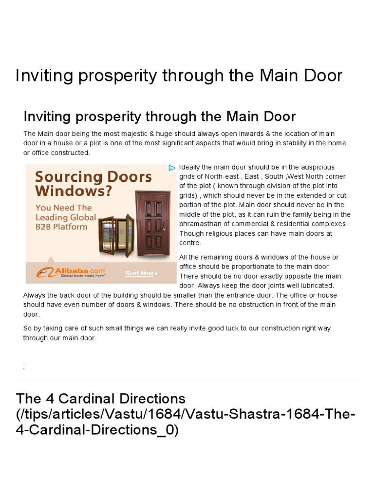Inviting prosperity through the Main Door, Vastu for house entrance ...