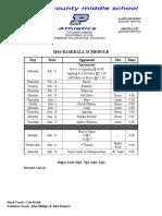 2016 Baseball Schedule