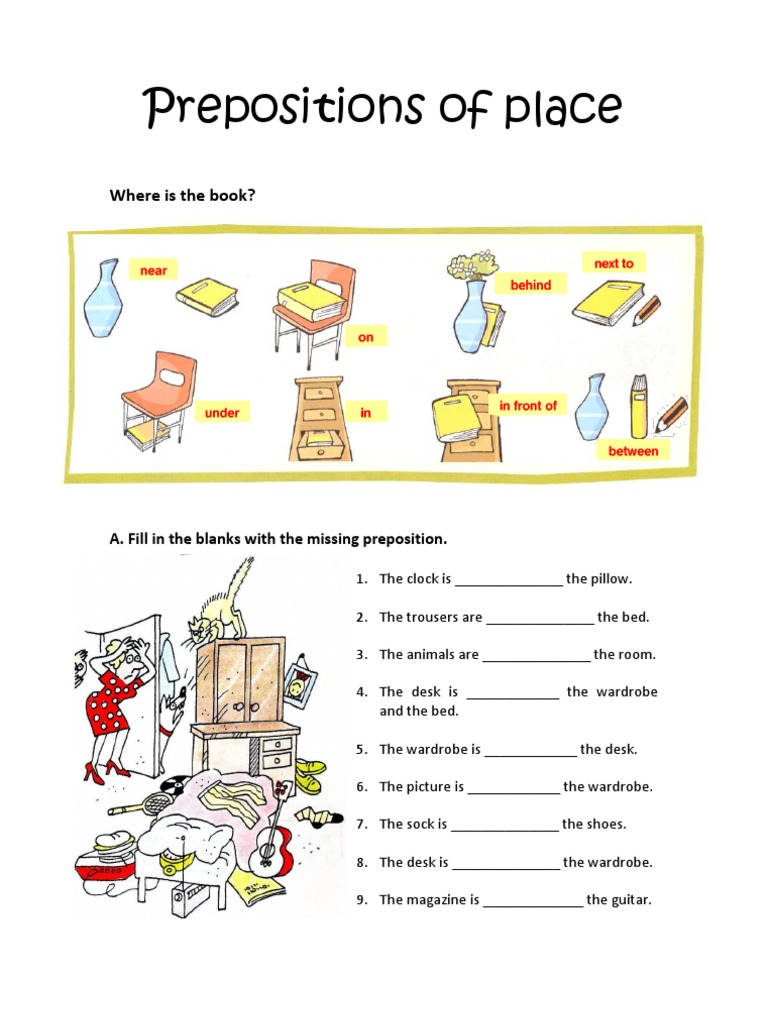 Worksheet Place Answers : Prepositions of place worksheet