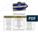 2010 Official Camp Schedule