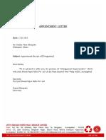 Appointement Letter