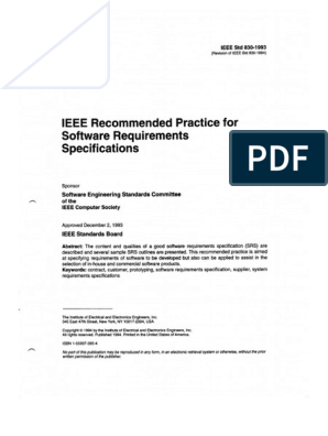 Ieee 830 Recommended Practice For Srs Pdf