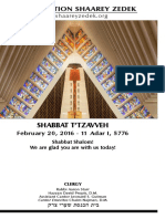 February 20, 2016 Shabbat Card