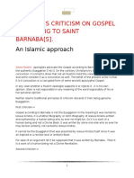 REFUTATION OF GOSPEL OF BARNABAS BY A MUSLIM AND AHLUSSUNNAH
