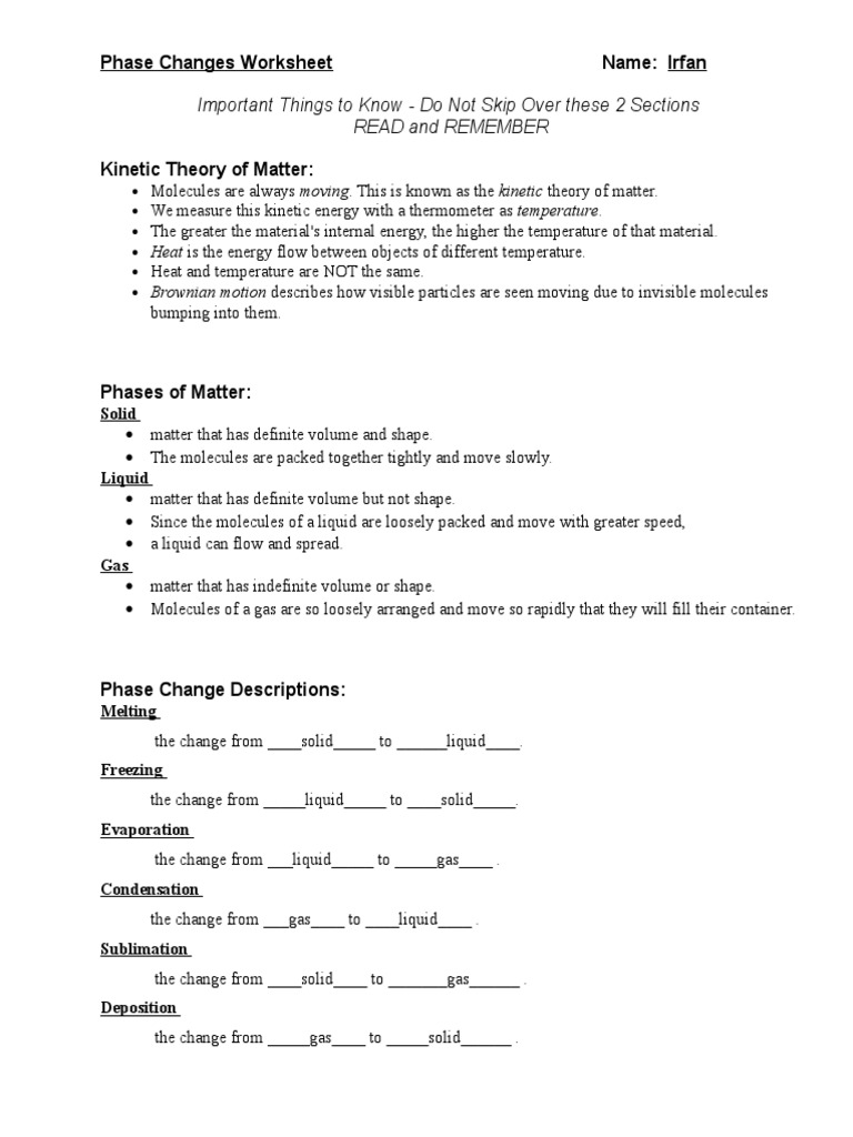 Phase Changes Worksheet | Phase (Matter) | Latent Heat