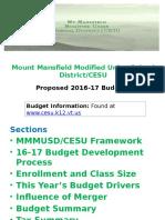 2016-2017 Budget Presentation, V 4.18
