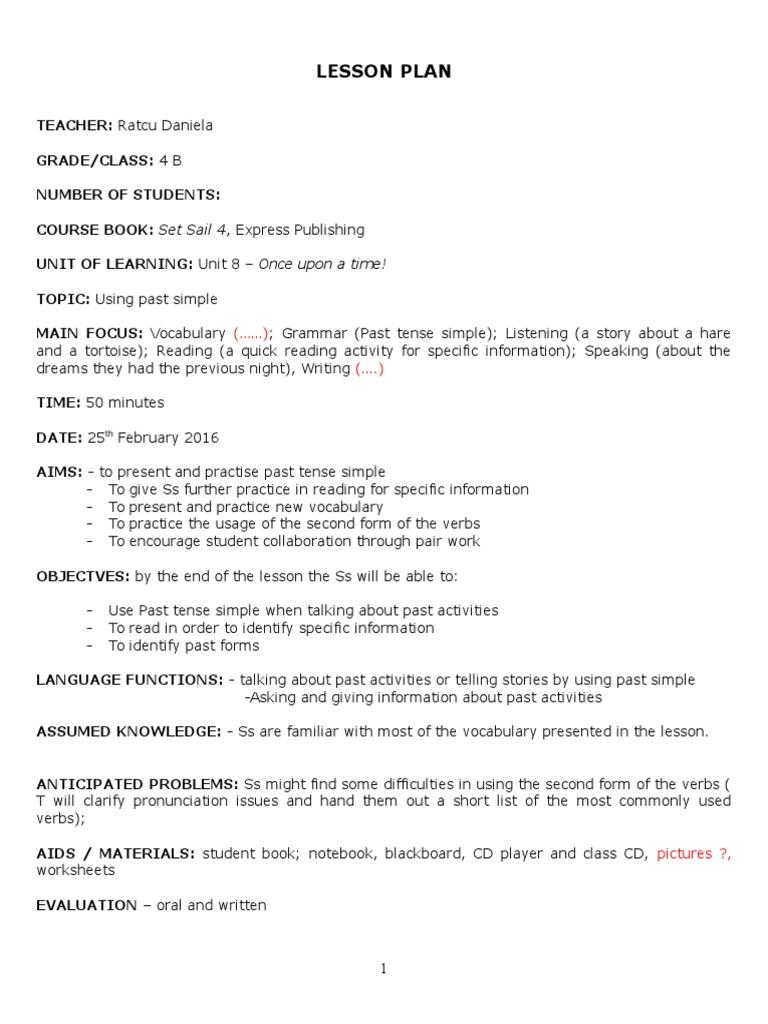 Lesson Plan Cls4   Lesson Plan   Grammatical Tense