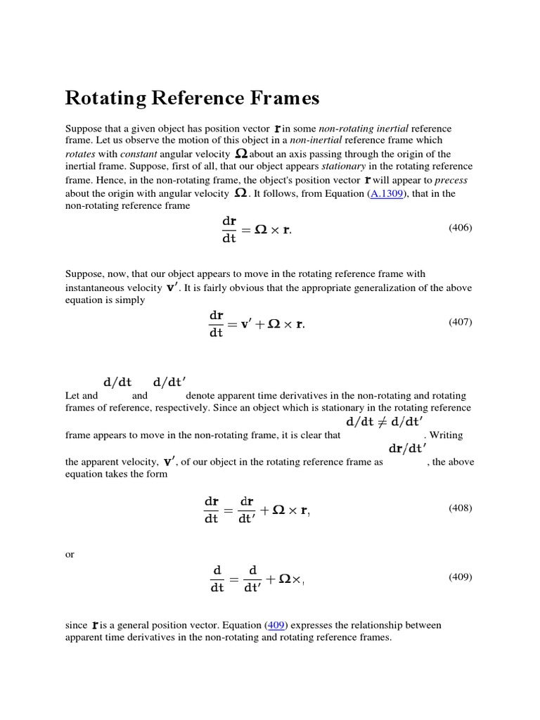 Rotating Reference Frames | Mass | Quantity