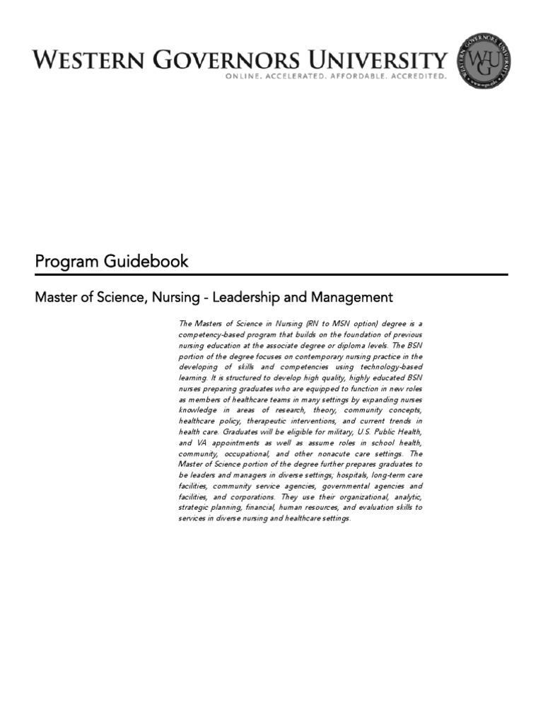 Master of Science, Nursing - Leadership and Management