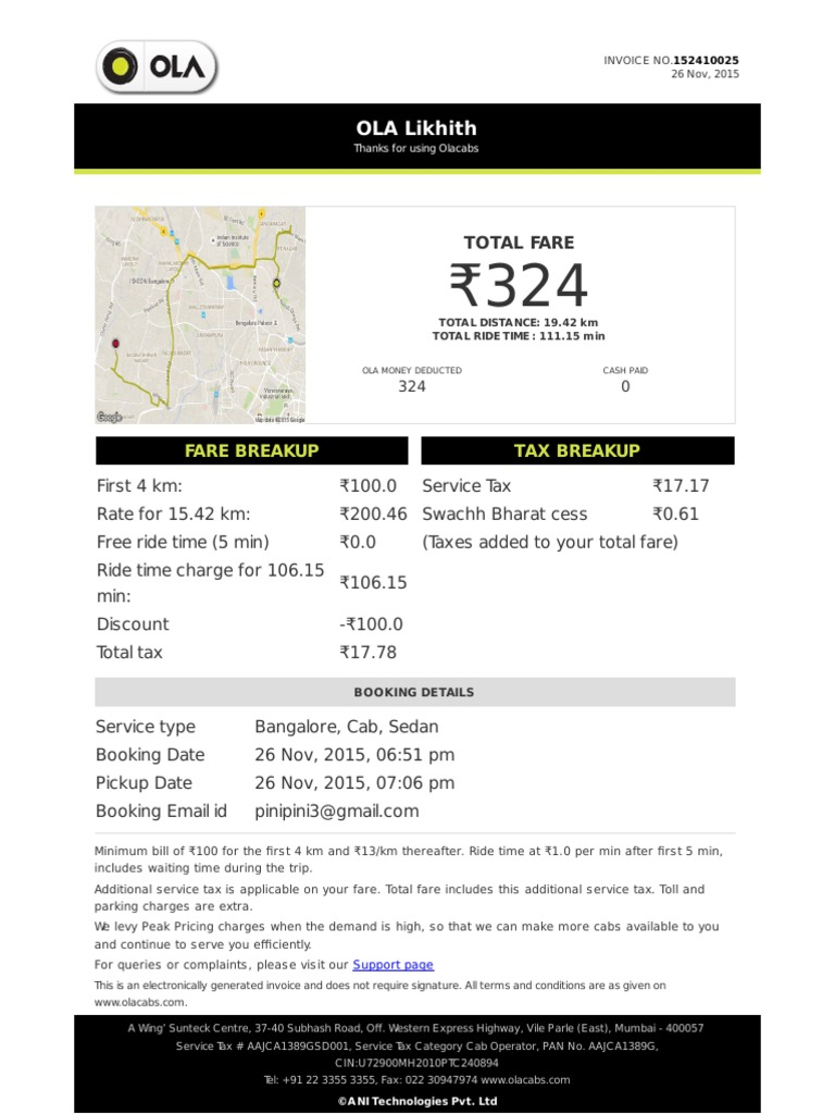 Olacabs invoice for Ola document template