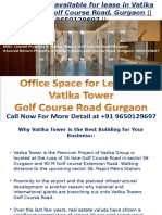 Office Space Available for Lease -In- Vatika Towers- On- Golf Course Road Gurgaon- 9650129697