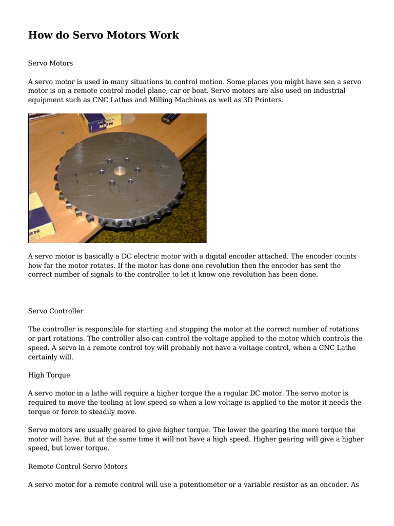 How Do Servo Motors Work Servomechanism Numerical Control Controlled Potentiometer Motor