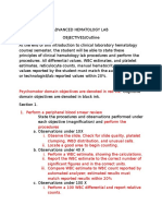 HEMATOLOGY Psychomotor and Cognitive Objectives for Lab Classes