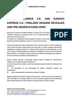 Renault Fluence/Kangoo Electric Car Pre-Reservation Press Release
