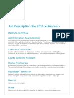 Job Description Rio 2016 Volunteers
