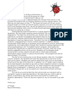 community resource project - letter to familes
