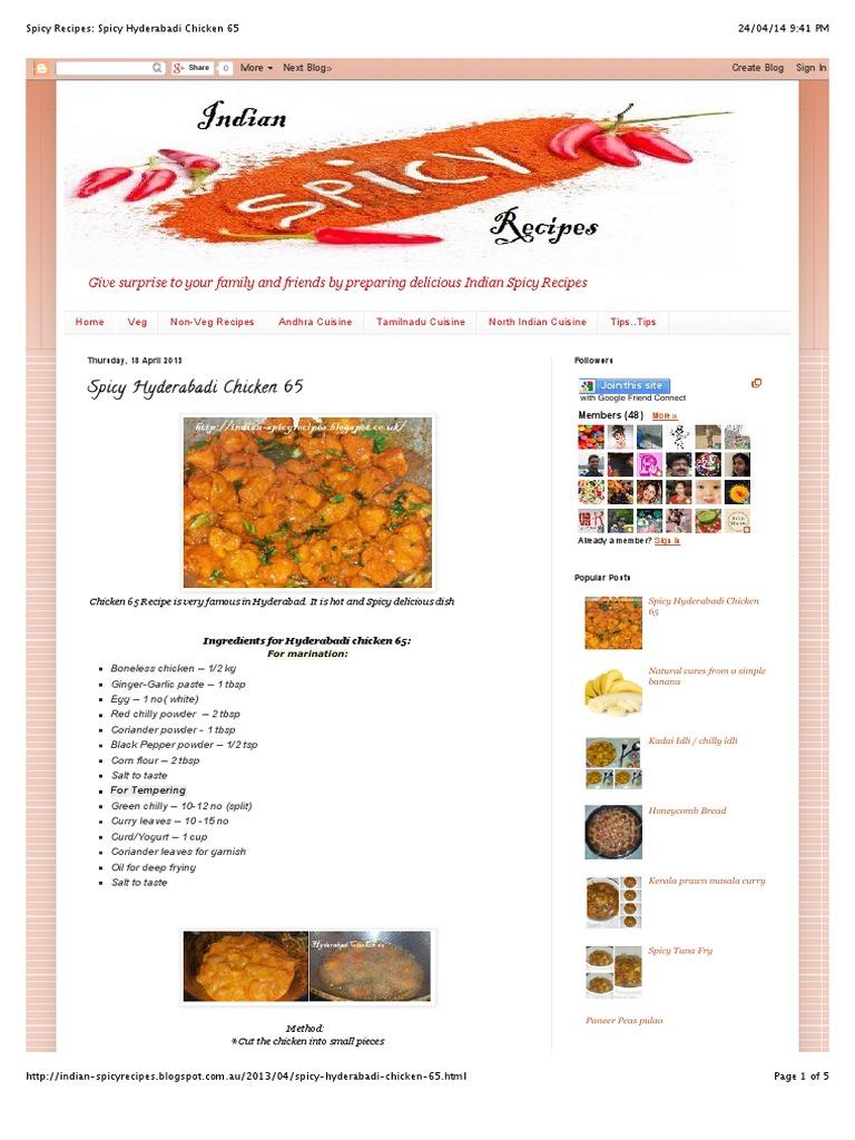 Spicy hyderabadi chicken 65pdf indian cuisine curry forumfinder Images