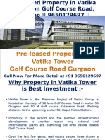 Pre-leased Property-In- Vatika Towers- On -Golf Course Road Gurgaon- 9650129697