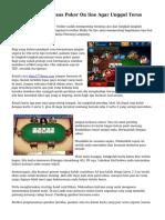 Teknik Bermain Texas Poker On line Agar Unggul Terus