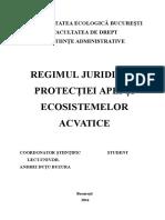 Regimul Juridic Al Protectiei Apei Si Ecosistemelor Acvatice