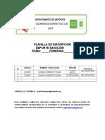 Planilla de Inscripcion Torneo Natacion 2016
