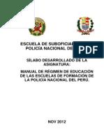 Silabodesarrolladomanualregimendeeducaciondelasescuelasdeformaciondelapnp 121201073800 Phpapp01 (1)