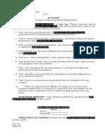 Affidavit for the Cancellation of Business Name Registration