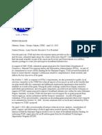 TIE Press Release of 4-14-10