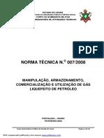 NT 007 – Manipulação, Armazenamento, Comercialização e Utilização de GLP