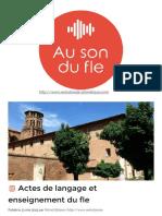 Actes de Langage Et Enseignement Du Fle - Au Son Du Fle - Michel Billières