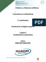 Unidad 3. Combinatoria y Polinomios