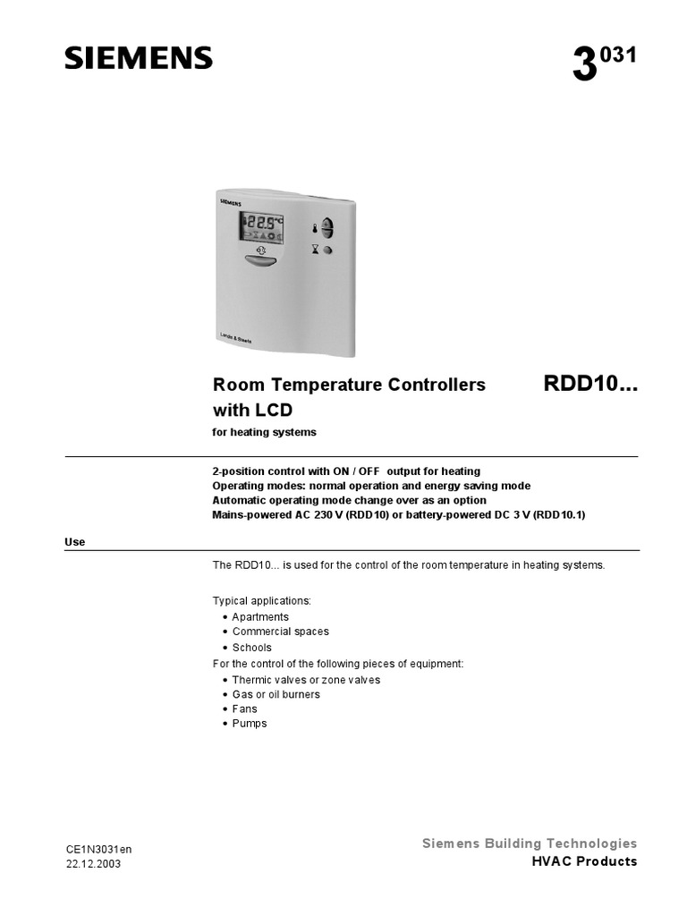 Rdd10 N3031en Hvac Switch Room Temperature Controller