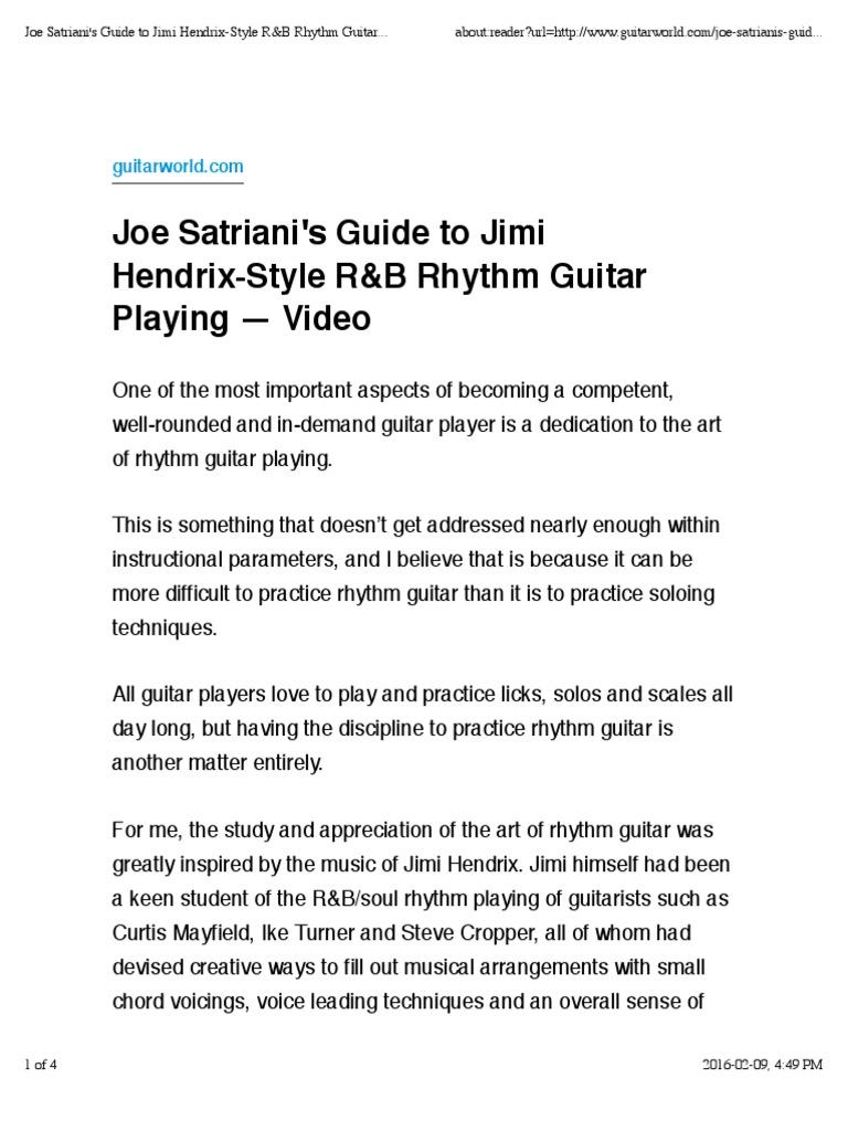 Joe Satrianis Guide To Jimi Hendrix Style Rb Rhythm Guitar Playing