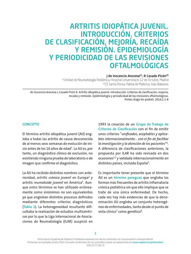 artritis reumatoide juvenil criterios diagnosticos