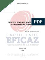 Gêneros Textuais - Resumo, Resenha e Fichamento