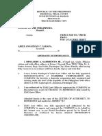 Affidavit of Desistance (JARAPA)