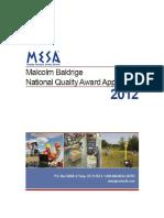 2012 MESA Application Summary