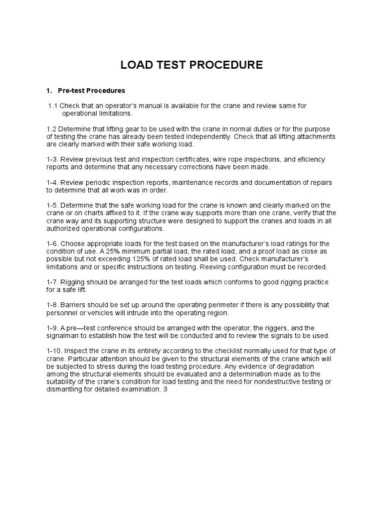 Load Test Procedure | Crane (Machine) | Brake