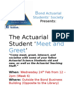 The Bond Actuarial Student's Society Presents