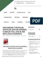 Descargar e Instalar AutoCad 2016 en Español e Ingles FULL (x32 & x64 Bits) (Solucionado) – D-Integral