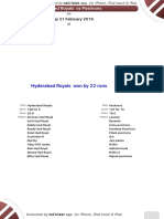 Match 10 - Hyderabad Royals -Positrons