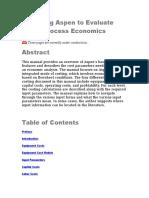Using Aspen to Evaluate Process Economics