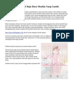Tips Memilih Model Baju Baru Muslim Yang Cantik
