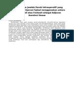 Perbandingan Jumlah Darah Intraoperatif Yang Hilang Selama Operasi Spinal Menggunakan Antara Remifentanil Atau Fentanil Sebagai Adjuvan Anestesi Umum