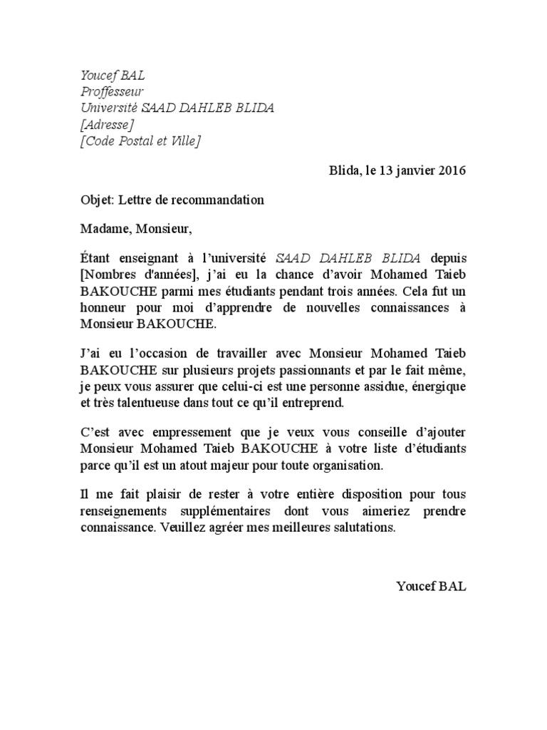 lettre de recommandation pour  u00e9tudiant pdf