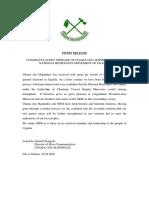 CONGRATULATORY MESSAGE OF CHAMA CHA MAPINDUZI TO THE NATIONAL RESISTANCE MOVEMENT OF UGANDA