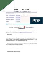 d. Legislativo 85 - Ley General de Cooperativas - Mayo 1981 - Concordado Con d.s. 074-90-Tr - De Enero de 1991