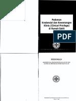 Pedoman Kredensial Dan Kewenangan Klinis (Clinical Privilege) Di Rs